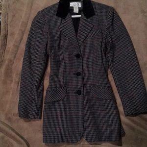Black, grey and maroon striped blazer.